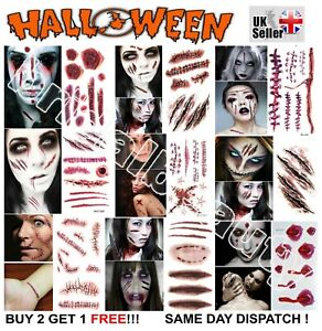 UK Realistic Temporary Tattoos Party Zombie Scar Stitches Scab Wound Waterproof