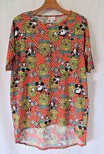 Lularoe DISNEY Irma Shirt Orange Green Mickey Mouse Floral Print Size XS #5087