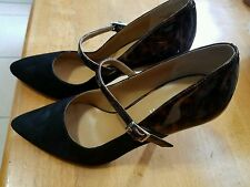 New Nine West Bria Black Suede Leopard Print Patent Leather pumps Size 6M
