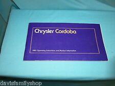 1981 Chrysler Cordoba Original Owners Manual