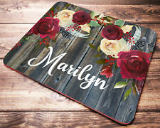 Personalized Custom Name Mouse Pad Floral Red Roses Desk Accessories for Women