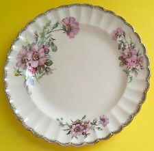 "Limoges Wild Rose 22K Gold Pink Flowers Dinner Plate 9"" Diameter Some Wear"