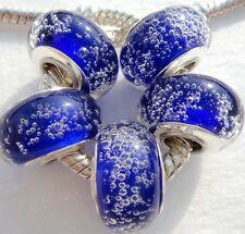 5PCS Silver Single Core Murano Lamp Glass Beads fit European Charm Bracelet A073