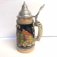 Vintage Gerz Munchen West German Ceramic Beer Stein With Pewter Lid