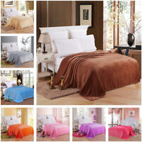 Pure Color Sofa Bed Carpet Warm Blanket Coral Fleece Throw Soft Rug Multipurpose
