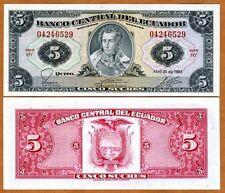 Ecuador, 5 Sucres, 1983, Pick 108b, UNC > Pre-USD$