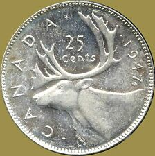 """1947 """"Maple Leaf """" Canada 25 Cent Silver Coin (5.83 grams .800 Silver)"""