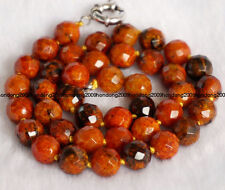 "10mm Faceted Orange Azurite Round Beads Gemstone Necklace 18""AAA"