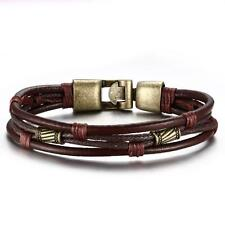 Vintage Mens Braided Leather Bracelet Brown Rope WristBand Cuff Bangle 8.5""