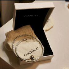 New Authentic Pandora Double Leather Bracelet w Box, Light Blue