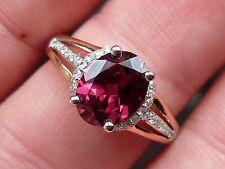 NEW 1.8ct Garnet Rhodolite & Diamond Oval Ring- 10K Rose & White Gold Size 7