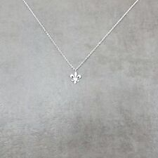 Fleur de Lis Saint Symbol SILVER Plated Necklace Gift Box Flower Lily Catholic