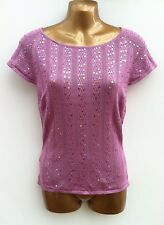 NWOT LAURA ASHLEY Pure Silk Thin Knit Top Size 8 Pink Sequin Embellished Jumper