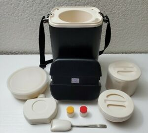 Zojirushi LPE-2000E Vintage Black Japanese Thermos Container Lunch Box Complete
