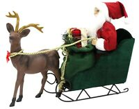Large Santa On Sleigh With Reindeer Father Christmas Chariot Holding Xmas Gifts