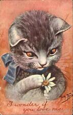 Cats 1911 Arthur Thiele Catching A Kiss Under The Mistletoe F.A. Owen Co.