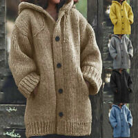 Women Winter Hooded Knitted Sweater Cardigan Coats Long Sleeve Outwear Jackets