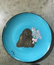 Hand-Painted Cocker Spaniel on Plate. Adorable!