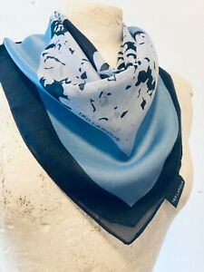 TED LAPIDUS Vintage 90's Women's Blue Chiffon Designer Scarf Size 29x29 Inches
