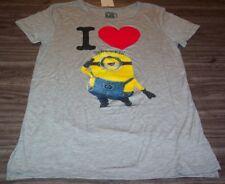 WOMEN'S TEEN DESPICABLE ME I LOVE MINIONS T-shirt MEDIUM NEW w/ TAG