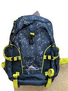 High Sierra Access Backpacks Loop Tech Blue / Yellow NWT