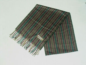 100% Cashmere Scarf 65 x 12 mens or womens black green gold stripe