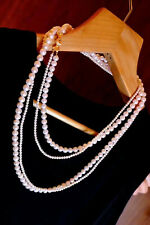 """two strands 5-8mm south sea round white pearl necklace 38""""39"""""""