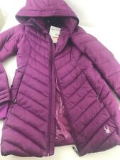 NWT $229 Women's S Spyder Knee Length Full Zip Hooded Puffer Coat Purple Pink