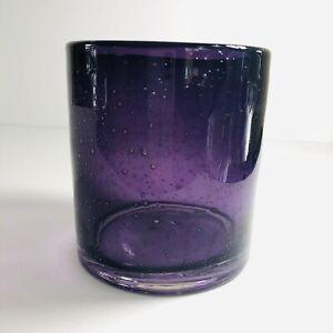 Art Glass Handblown Plum Purple Bubble Vase.