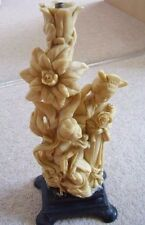 Antique Oriental Chinese Vintage Carved Resin lamp-candle stand on base