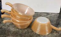 4 Fire King Bee Hive Bowl Peach Luster Soup Handle Vtg 50's Brownie Potato Etc