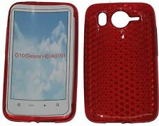 Per HTC Desire HD G10 A9191 PATTERN GEL JELLY CASE Protector Cover PUCH Rosso UK