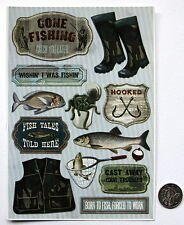 NO 108 SCRAPBOOKING - 12 Piece MEDIUM TO LARGE FISHING STICKERS