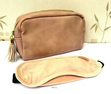 Elemis Pink Mottled Faux Leather Lined Toiletry/Make Up Bag & Matching Eye Mask