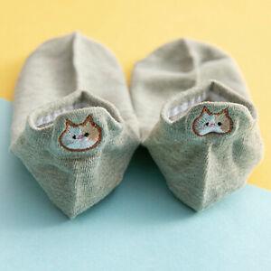Fashion Cotton Socks Casual Embroidery Cat Boat Focks Ankle Short Socks Women