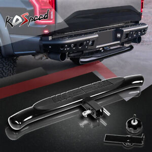 """Black 37""""x 4"""" Pedal Oval 2"""" Receiver Trailer Towing Tailgate Hitch Rear Step Bar"""