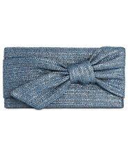 INC BOWAH Blue HAND THROUGH STRAW Clutch Handbag