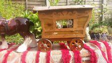 Beautiful vtg Handmade Romany Gypsy wagon caravan porcelain Staffordshire horse