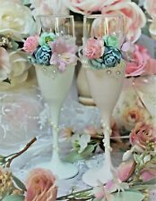 Shabby Chic Vintage Toasting Wedding Bride and Groom Glasses Champagne Flutes