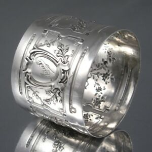 Antique French Sterling Silver Napkin Ring, Neoclassic Roses Hallmark, 1881-1920