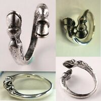 Fashion Tibetan Silver Black Wedding Hand Carved Horse Hoof Open Mens Rings Men