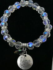 Sparkly Crystal Stretch Bracelet I Love You & Heart Charm Clear NEW Ship from US
