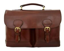 Luxurious Leather Briefcase For Mens Brown Classy Business Laptop Bag Organiser