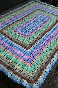 Vintage Handmade Rainbow Crochet Giant Granny Square Patchwork Afghan/Throw