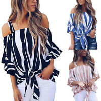 Fashion Women Off Shoulder Striped Loose Blouse T-shirt Bell Sleeve Ladies Tops