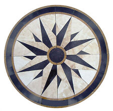 Floor Marble Round Medallion Nautical Compass Star Travertine Tile Mosaic 28 in