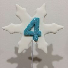Snowflakes With A Sparkly Number On Wire Edible Cake Toppers