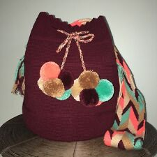 Authentic 100% Wayuu Mochila Colombian Bag Large Burgundy Mini Pompom Bucket Bag