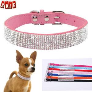 Bling Rhinestone Dog Pet Cat Puppy Neck Leather Collar Crystal Diamonds Necklace