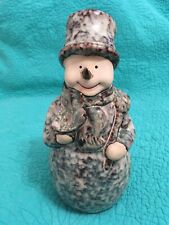"10"" Blue/Brown Spongeware/Stoneware Winter/Christmas Snowman Figurine"